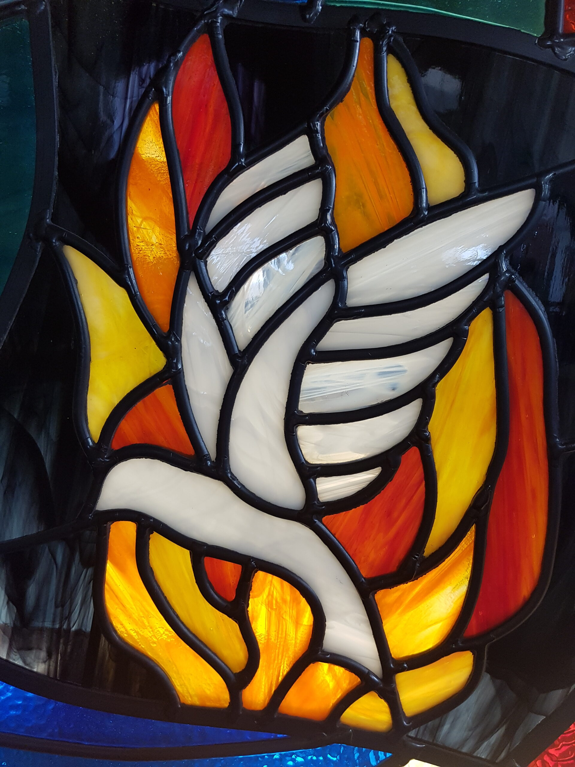 Stained Glass Window - Stylised Spirit Dove Flame